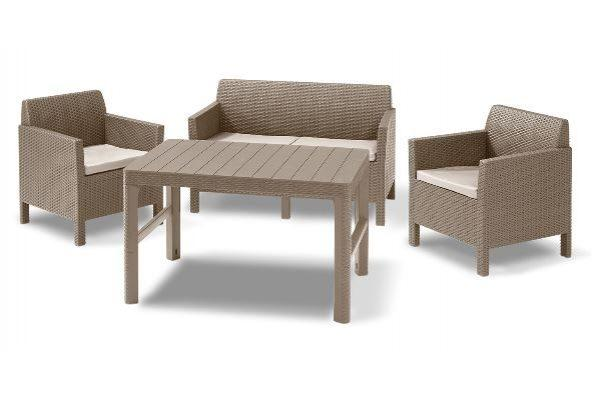 Chicago lounge set cappuccino two seater with Lyon table