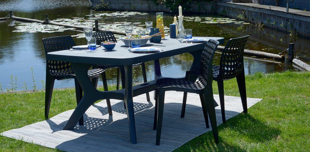 allibert baltimore table de jardin graphite allibert. Black Bedroom Furniture Sets. Home Design Ideas