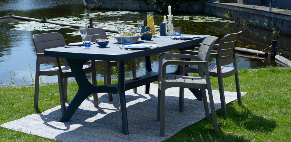 allibert baltimore table de jardin cappuccino allibert. Black Bedroom Furniture Sets. Home Design Ideas