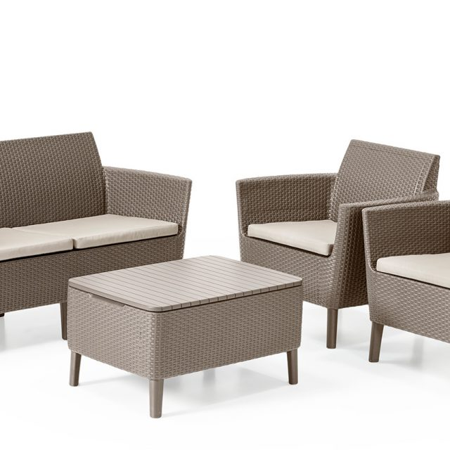 Allibert Salemo loungeset cappuccino met tweezitsbank