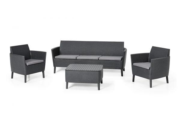 Salemo Lounge Set Graphit Dreisitzer-Sofa