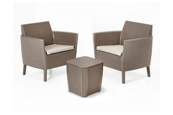 Salemo Duo Set with Luzon storage table Cappuccino