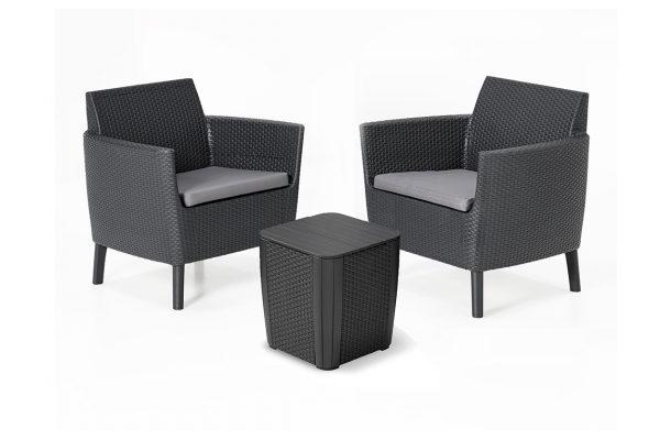 Salemo ensemble de balcon avec table Luzon graphite