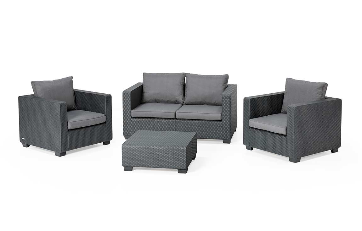 ALLIBERT Salta Lounge Set Graphit Zweisitzer-Sofa - Allibert