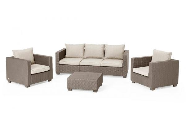 Salta Lounge Set Cappuccino Dreisitzer-Sofa