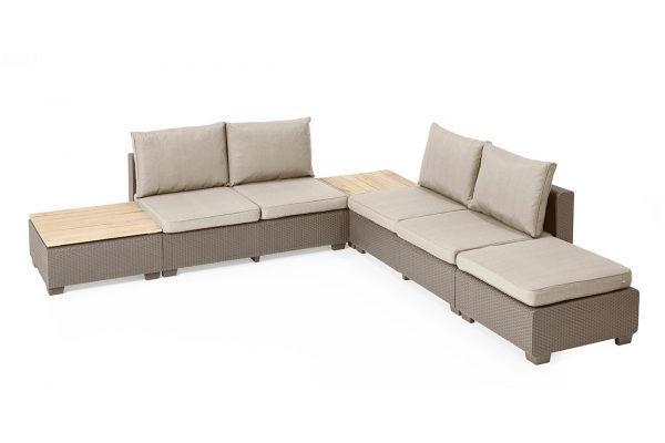 Sapporo Lounge-Set mit Holztischplatten Cappuccino