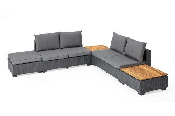 Sapporo Lounge-Set mit Holztischplatten Graphit